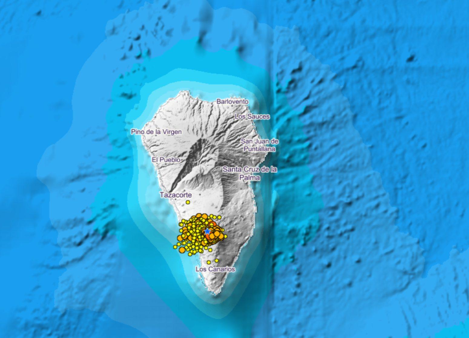 El semáforo del PEVOLCA se mantiene en amarillo para la zona de Cumbre Vieja, en La Palma