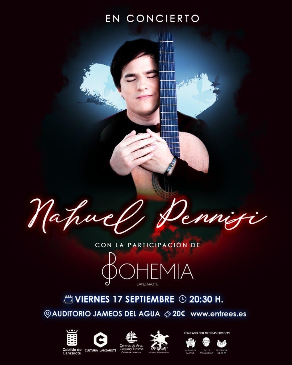 El Auditorio Jameos del Agua acoge este viernes el concierto de Nahuel Pennisi y el grupo Bohemia Lanzarote