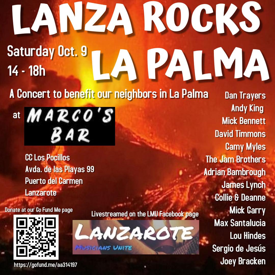 El grupo 'Lanzarote Musicians Unite' está organizando un concierto para recaudar fondos para ayudar a las víctimas de la erupción volcánica de La Palma